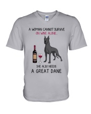 Wine and Great Dane 4 V-Neck T-Shirt thumbnail