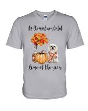 The Most Wonderful Time - Maltese V-Neck T-Shirt thumbnail