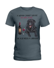 Wine and Labrador 2 Ladies T-Shirt tile