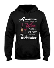 Wine and A Technician 3 Hooded Sweatshirt thumbnail