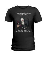 Wine and Portuguese Water Dog Ladies T-Shirt thumbnail