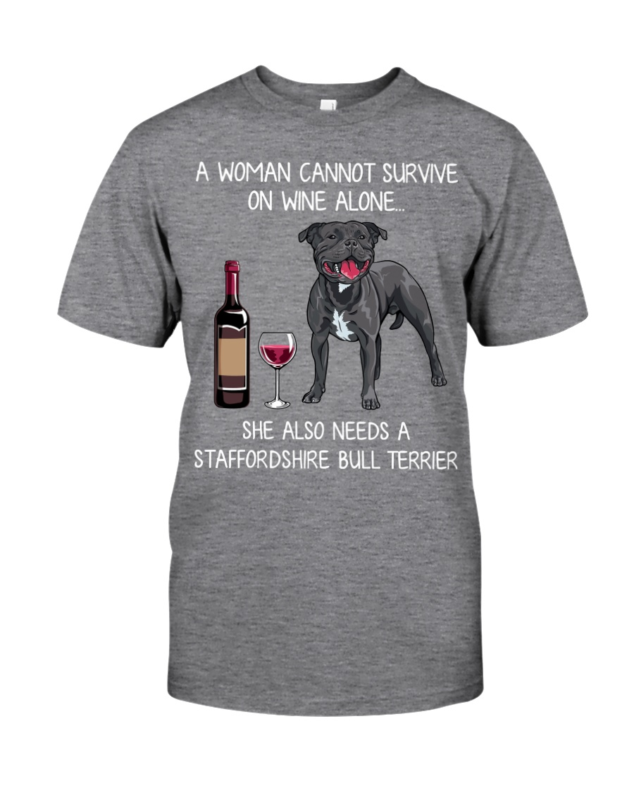 Wine and Staffordshire Bull Terrier Classic T-Shirt