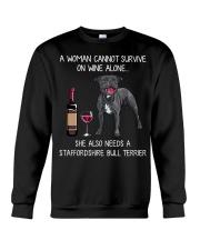 Wine and Staffordshire Bull Terrier Crewneck Sweatshirt thumbnail