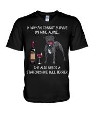 Wine and Staffordshire Bull Terrier V-Neck T-Shirt thumbnail