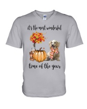 The Most Wonderful Time Long Haired Dachshund V-Neck T-Shirt thumbnail