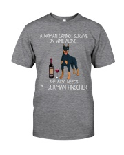Wine and German Pinscher Classic T-Shirt front