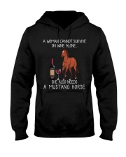 Wine and Mustang Horse Hooded Sweatshirt thumbnail
