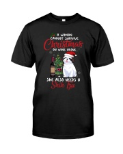 Christmas - Wine and Shih Tzu Classic T-Shirt front