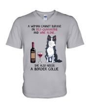 Cannot Survive Alone - Border Collie V-Neck T-Shirt thumbnail
