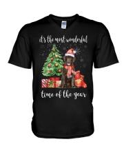 The Most Wonderful Xmas - Chocolate Labrador V-Neck T-Shirt thumbnail