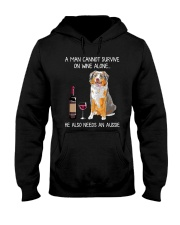 Wine and Aussie - Man version Hooded Sweatshirt thumbnail