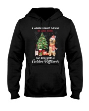 Christmas Wine and Golden Retriever Hooded Sweatshirt thumbnail