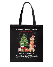 Christmas Wine and Golden Retriever Tote Bag tile