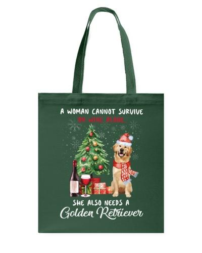 Christmas Wine and Golden Retriever