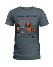 Wine and Dachshund 3 Ladies T-Shirt thumbnail
