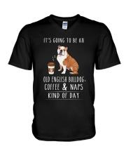 Old English Bulldog Coffee and Naps V-Neck T-Shirt thumbnail