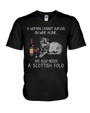 Wine and Scottish Fold Cat V-Neck T-Shirt thumbnail