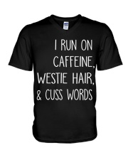 Caffeine and Westie V-Neck T-Shirt thumbnail