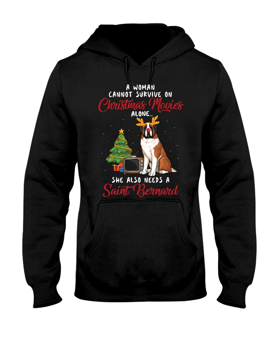Christmas Movies and Saint Bernard Hooded Sweatshirt