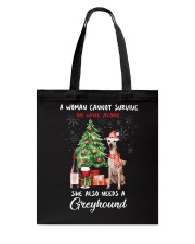 Christmas Wine and Greyhound Tote Bag thumbnail
