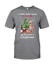 Christmas Wine and Greyhound Classic T-Shirt front