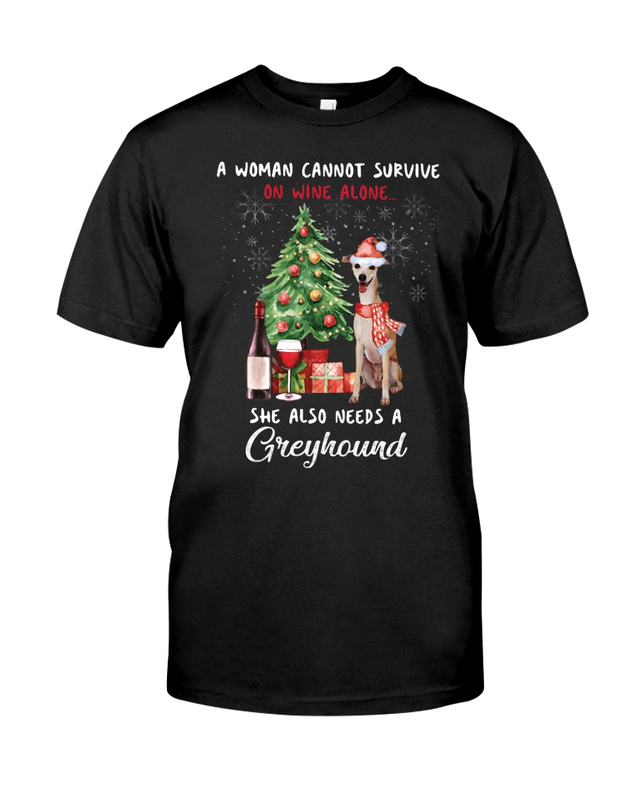 Christmas Wine and Greyhound Classic T-Shirt