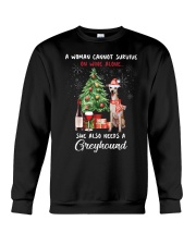 Christmas Wine and Greyhound Crewneck Sweatshirt tile