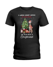 Christmas Wine and Greyhound Ladies T-Shirt tile