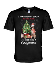 Christmas Wine and Greyhound V-Neck T-Shirt tile
