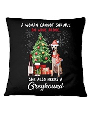 Christmas Wine and Greyhound Square Pillowcase thumbnail