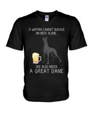 Beer and Great Dane 2 V-Neck T-Shirt thumbnail
