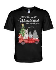 Wonderful Christmas with Truck - Bull Terrier V-Neck T-Shirt thumbnail