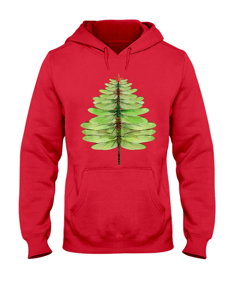 Dragonfly Christmas Tree Hooded Sweatshirt