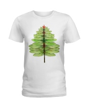 Dragonfly Christmas Tree Ladies T-Shirt tile