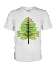 Dragonfly Christmas Tree V-Neck T-Shirt tile