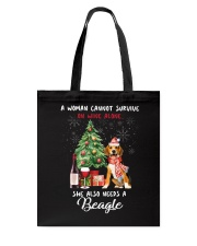 Christmas Wine and Beagle Tote Bag front