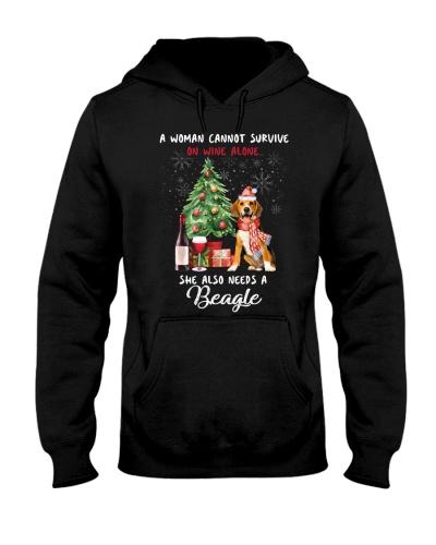 Christmas Wine and Beagle