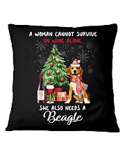 Christmas Wine and Beagle Square Pillowcase tile