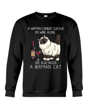 Wine and Birman Cat Crewneck Sweatshirt thumbnail