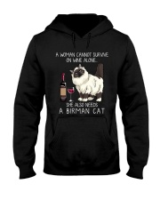 Wine and Birman Cat Hooded Sweatshirt thumbnail