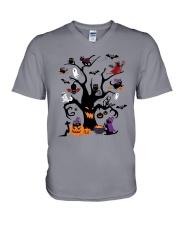 Halloween Cats Tree V-Neck T-Shirt thumbnail