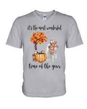 The Most Wonderful Time - Borzoi V-Neck T-Shirt thumbnail
