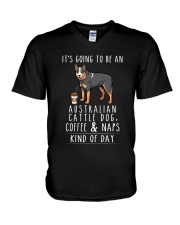 Australian Cattle Dog Coffee and Naps V-Neck T-Shirt thumbnail