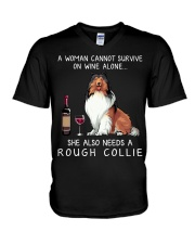 Wine and Rough Collie V-Neck T-Shirt thumbnail