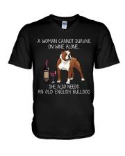 Wine and Old English Bulldog V-Neck T-Shirt thumbnail