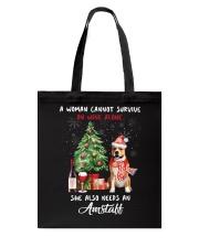 Christmas Wine and Amstaff Tote Bag thumbnail