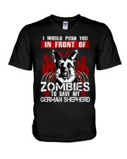 I Would Push You In Front of Zombies - GS V-Neck T-Shirt thumbnail