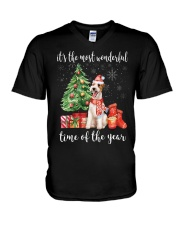 The Most Wonderful Xmas - Wire Fox Terrier V-Neck T-Shirt tile