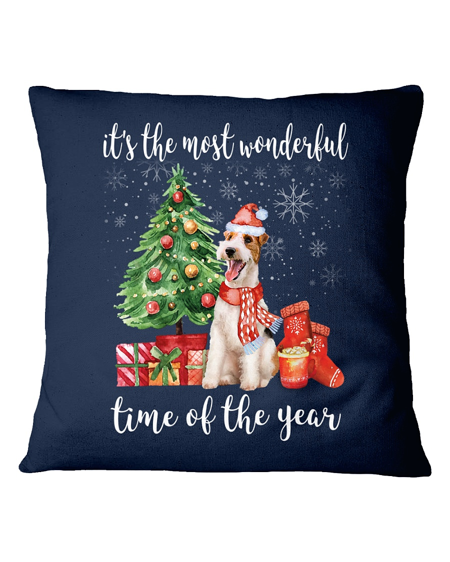 The Most Wonderful Xmas - Wire Fox Terrier Square Pillowcase