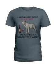 Wine and Neapolitan Mastiff 2 Ladies T-Shirt thumbnail